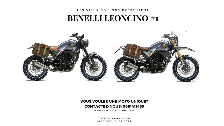 dessins croquis benelli leoncino trail tuned